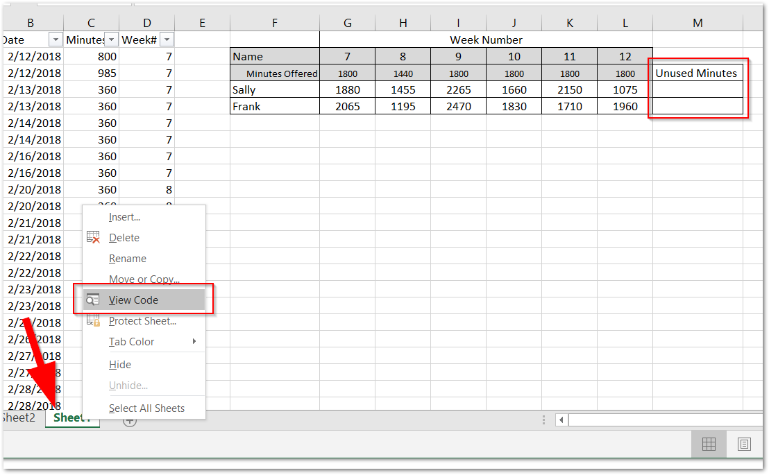 Screenshot of excel highlighting the newly added column and where to click to view code